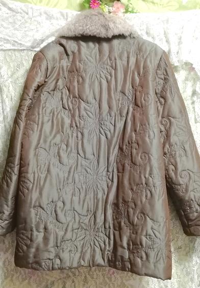 オリーブグリーンラビットファー光沢ロングコート/羽織/アウター/カーディガン Olive green rabbit fur glossy long coat/outer/cardigan_画像5