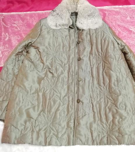 オリーブグリーンラビットファー光沢ロングコート/羽織/アウター/カーディガン Olive green rabbit fur glossy long coat/outer/cardigan