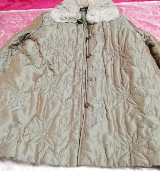 オリーブグリーンラビットファー光沢ロングコート/羽織/アウター/カーディガン Olive green rabbit fur glossy long coat/outer/cardigan_画像2