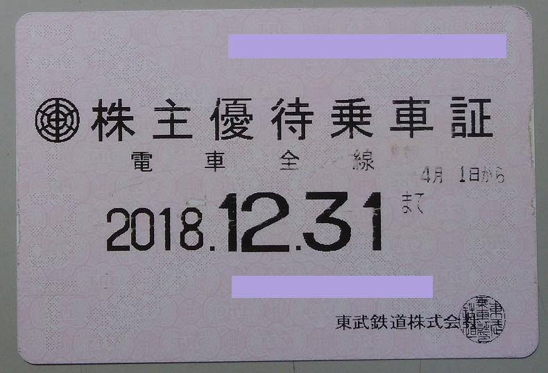 【簡易書留送料込】東武鉄道 株主優待乗車証(電車全線)定期型 2018.12.31まで