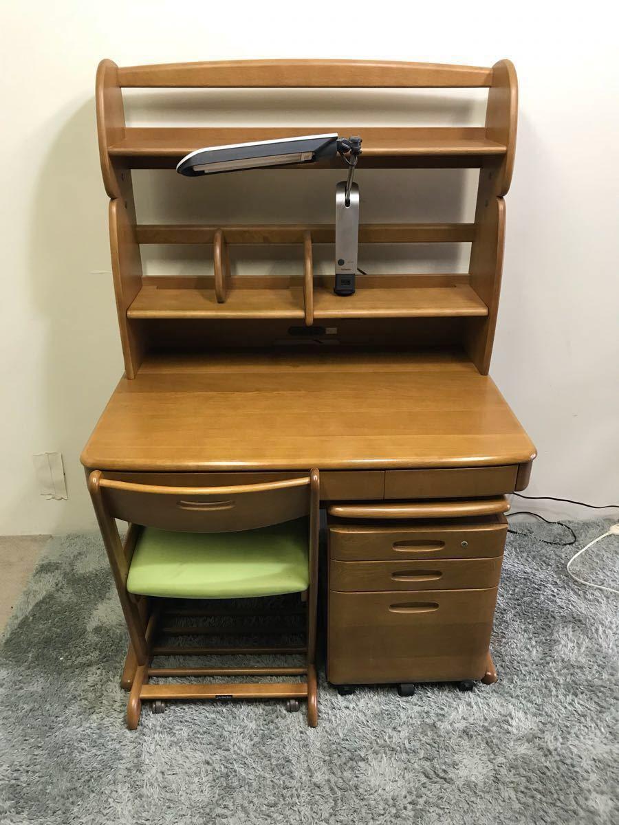 karimoku カリモク 学習机 3点セット デスク チェア ワゴン カリモク家具 グリーン 証明
