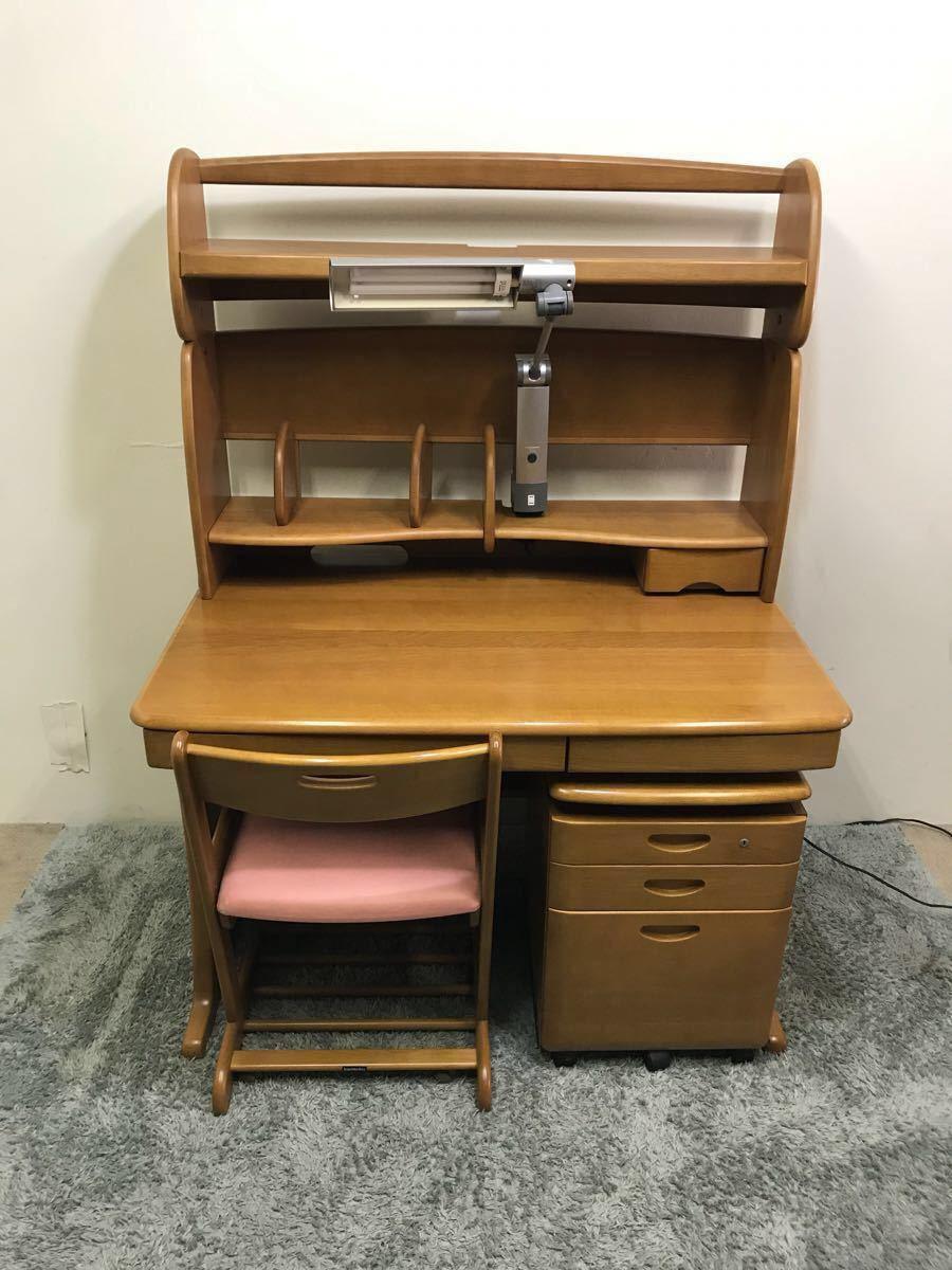 karimoku カリモク 学習机 3点セット デスク チェア ワゴン カリモク家具 ピンク 証明付