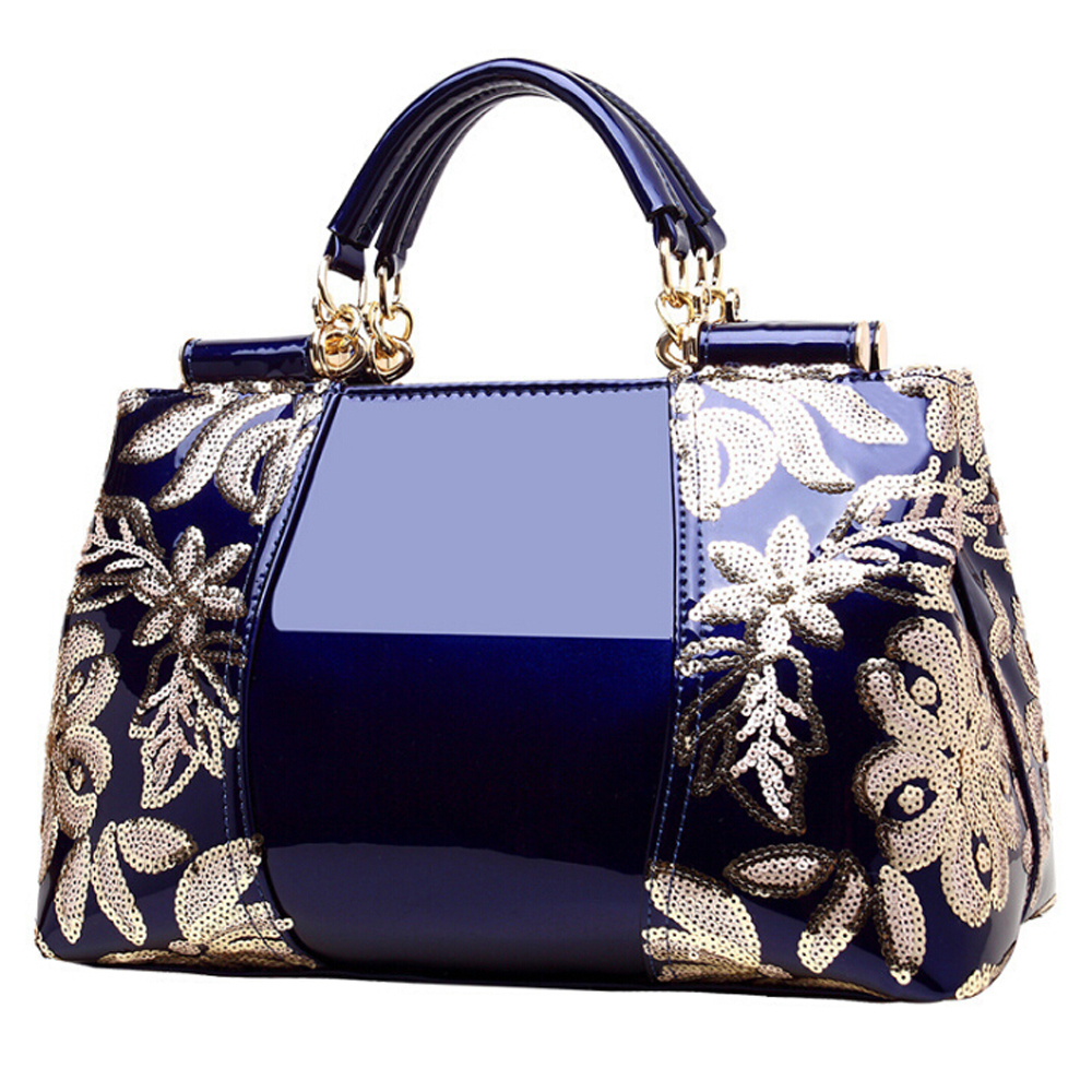 新品★レディース ハンドバッグ 5色 トートバッグ ショルダーバッグ2way エナメル 花柄 大容量 色選択可 ブルー_画像1
