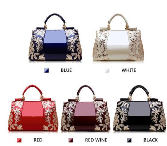 新品★レディース ハンドバッグ 5色 トートバッグ ショルダーバッグ2way エナメル 花柄 大容量 色選択可 ブルー_画像8