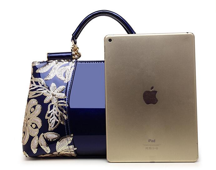 新品★レディース ハンドバッグ 5色 トートバッグ ショルダーバッグ2way エナメル 花柄 大容量 色選択可 ブルー_画像4