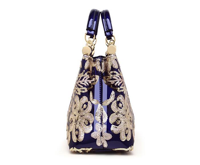 新品★レディース ハンドバッグ 5色 トートバッグ ショルダーバッグ2way エナメル 花柄 大容量 色選択可 ブルー_画像5