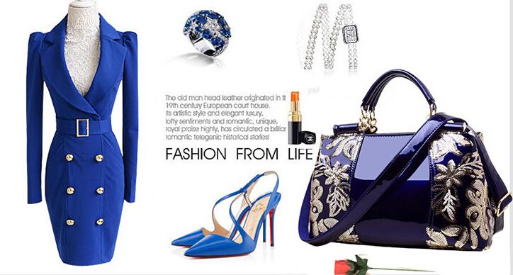 新品★レディース ハンドバッグ 5色 トートバッグ ショルダーバッグ2way エナメル 花柄 大容量 色選択可 ブルー_画像7