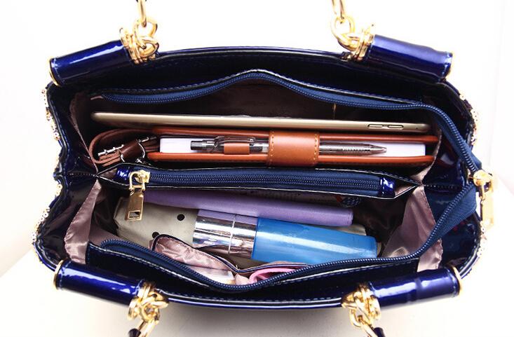 新品★レディース ハンドバッグ 5色 トートバッグ ショルダーバッグ2way エナメル 花柄 大容量 色選択可 ブルー_画像6
