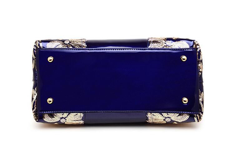 新品★レディース ハンドバッグ 5色 トートバッグ ショルダーバッグ2way エナメル 花柄 大容量 色選択可 ブルー_画像3