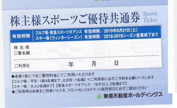 【送料込】最新☆東急不動産株主優待券 スキー場 数量6