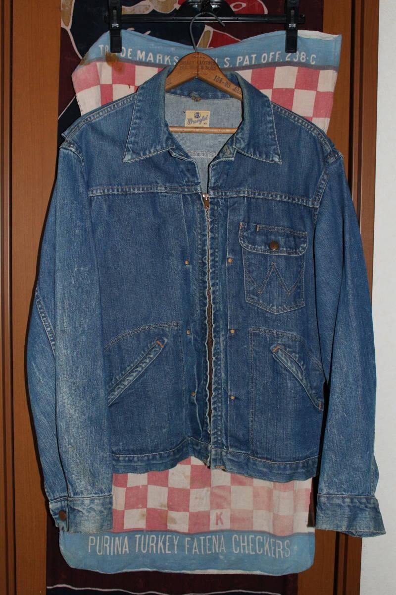 cb9c46f5 largish 50's 60's Wrangler embroidery tag Denim jacket vintage 2nd original  11MJZ strut blue bell length bell Second 42