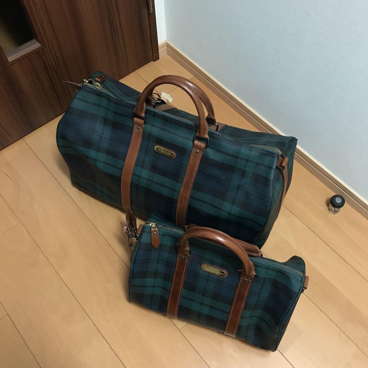 f72764c26a Polo Ralph Lauren POLO RALPH LAUREN Boston bag handbag bag 2 piece set  regular goods beautiful goods check pattern green group selling out