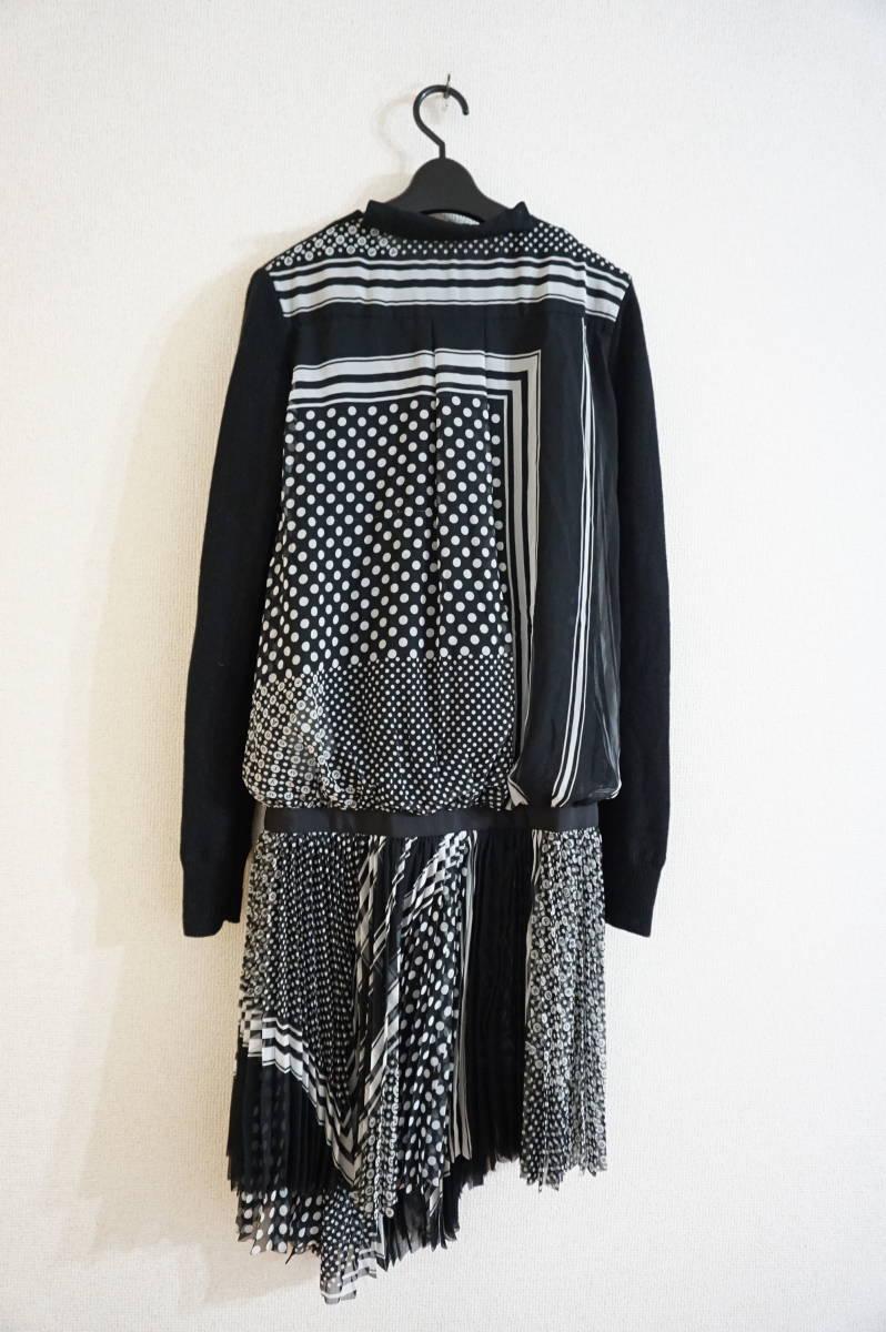 sacai luck 2016AW シフォンプリーツスカート切替 ニットワンピース ドット柄 ブラック_画像2