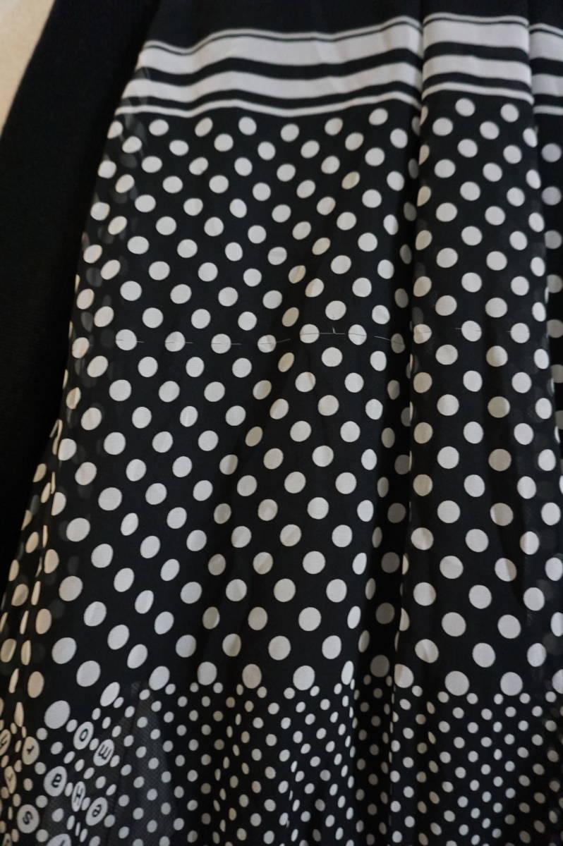 sacai luck 2016AW シフォンプリーツスカート切替 ニットワンピース ドット柄 ブラック_画像4