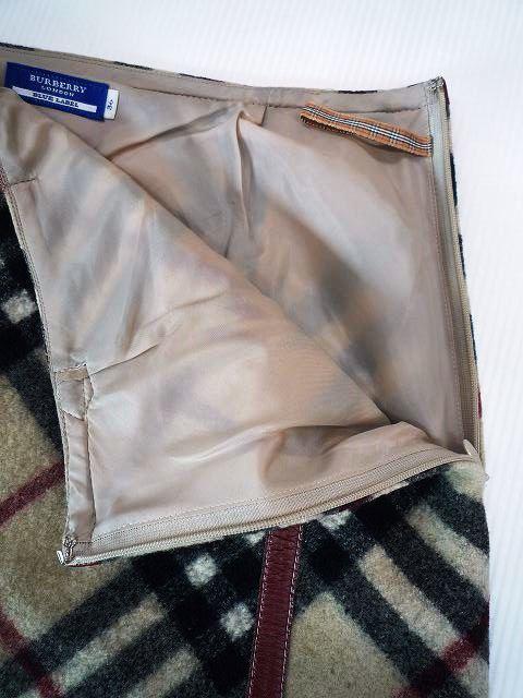 BURBERRY バーバリー ブルーレーベル 厚手 ミニスカート ホースマークバックル チェック柄 サイズ36_5.