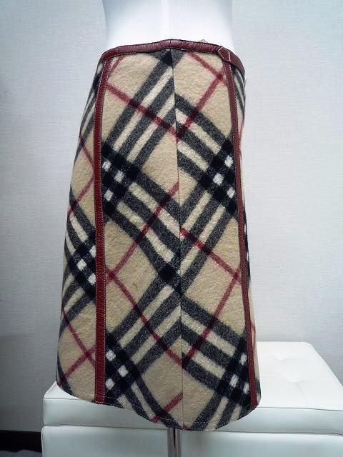 BURBERRY バーバリー ブルーレーベル 厚手 ミニスカート ホースマークバックル チェック柄 サイズ36_2.横