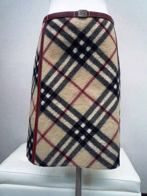 BURBERRY バーバリー ブルーレーベル 厚手 ミニスカート ホースマークバックル チェック柄 サイズ36_1.前