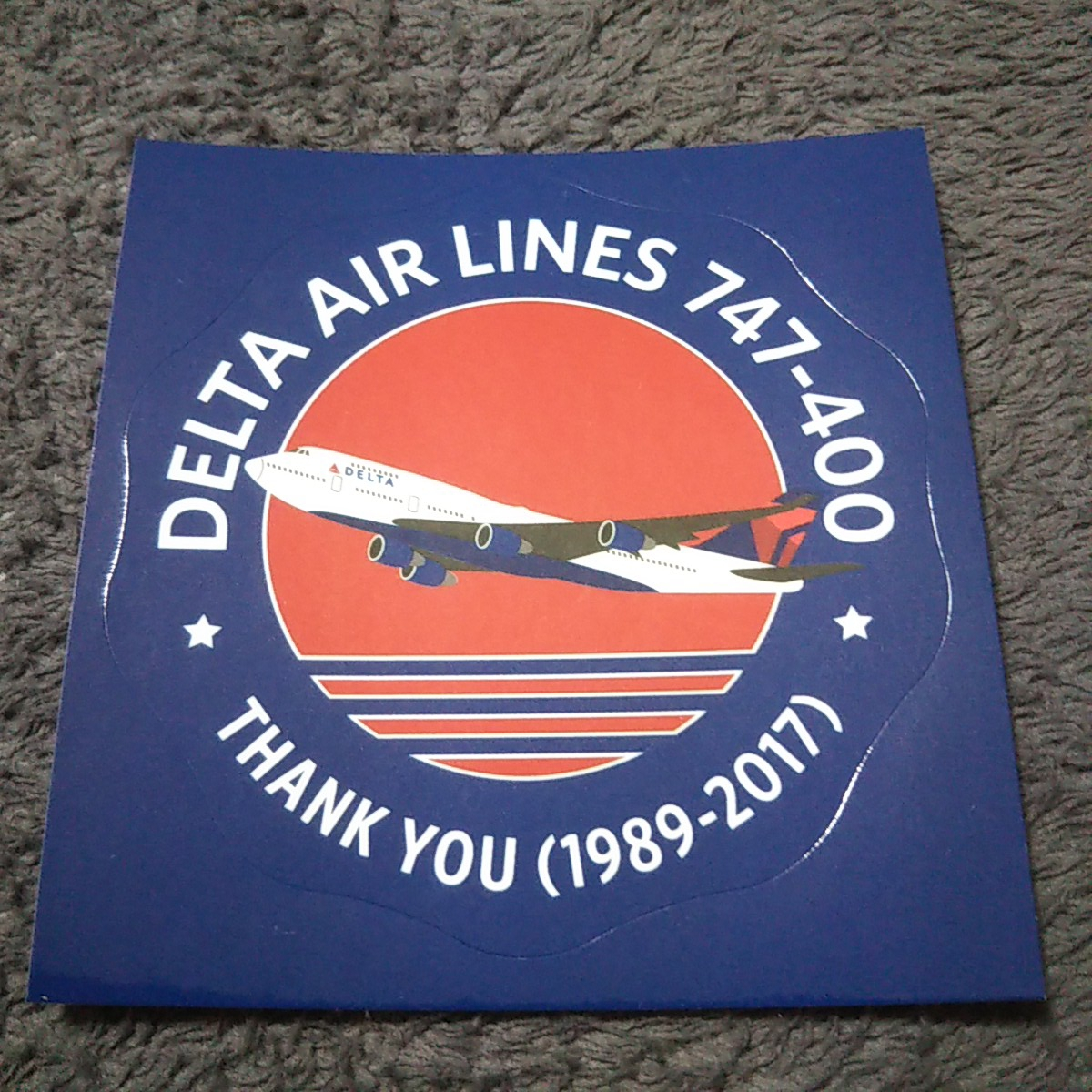 2020年デルタ成田撤退?激レア品!! デルタ航空 DELTA AIRLINES B747-400 ジャンボ退役記念 非売品ステッカー_画像1