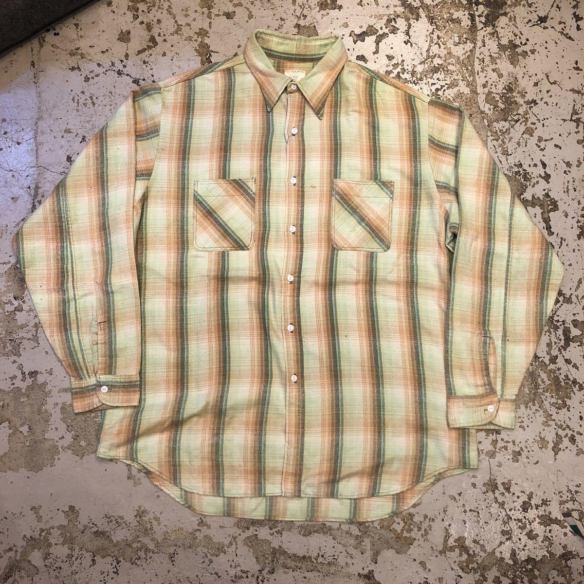 70s BIGMAC ビッグマック ネルシャツ レアカラー ビッグサイズ ビンテージ ut438_画像1