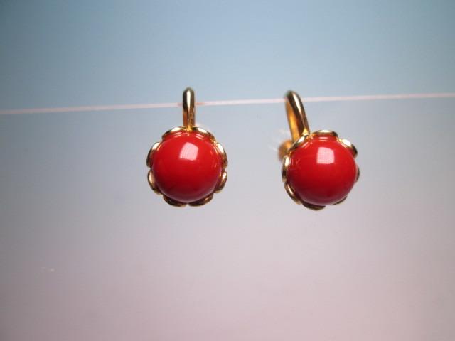 【江月】18K 血赤珊瑚玉のデザインイヤリング 3,35g ケース付 _画像6