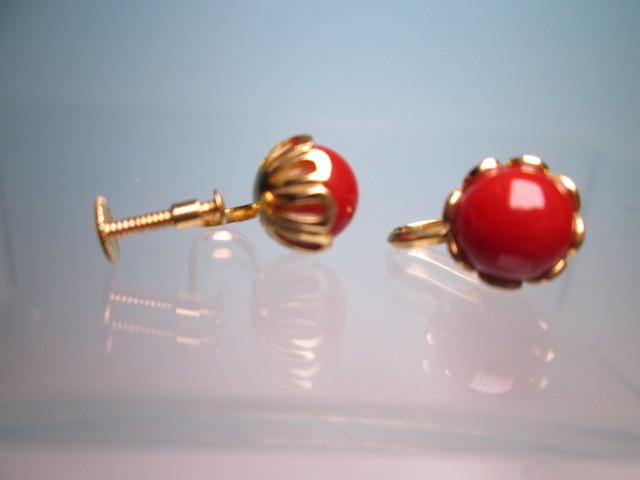 【江月】18K 血赤珊瑚玉のデザインイヤリング 3,35g ケース付 _画像7