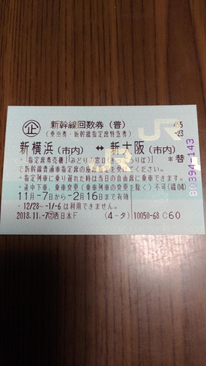 新幹線回数券(新横浜-新大阪)