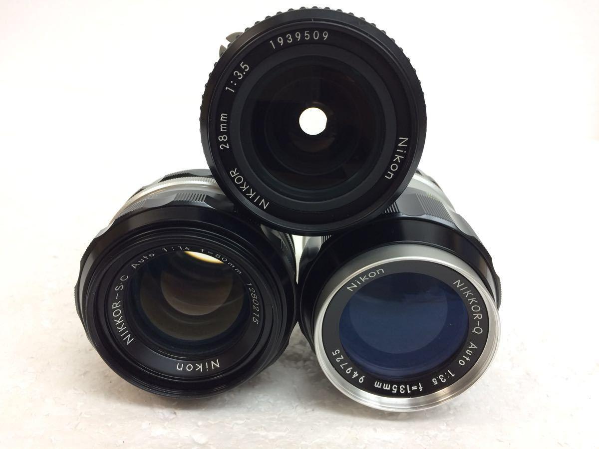 カメラ NIKON (ニコン) F レンズ NIKKOR 28/3.5 135/3.5 50/1.4 ストロボ SB-2 reref-d 1225-12_画像6