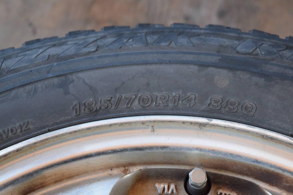 185/70R14 PCD100 14×6JJ 4穴 アルミ 4本セット タイヤはおまけ カローラフィールダー シエンタ等_画像2