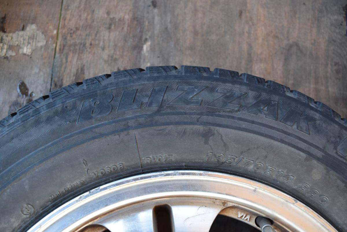 185/70R14 PCD100 14×6JJ 4穴 アルミ 4本セット タイヤはおまけ カローラフィールダー シエンタ等_画像4