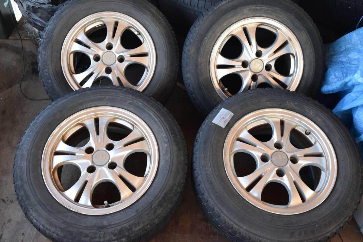 185/70R14 PCD100 14×6JJ 4穴 アルミ 4本セット タイヤはおまけ カローラフィールダー シエンタ等_画像1
