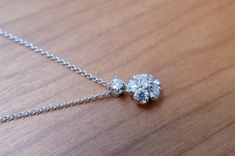 Pt ラザール ダイヤモンド 0.37ct ネックレス フラワー ラザールキャプラン_画像2