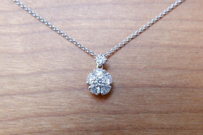 Pt ラザール ダイヤモンド 0.37ct ネックレス フラワー ラザールキャプラン_画像5