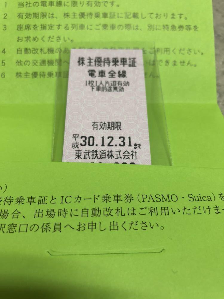 【送料無料】東武鉄道◆株主優待乗車証◆1枚