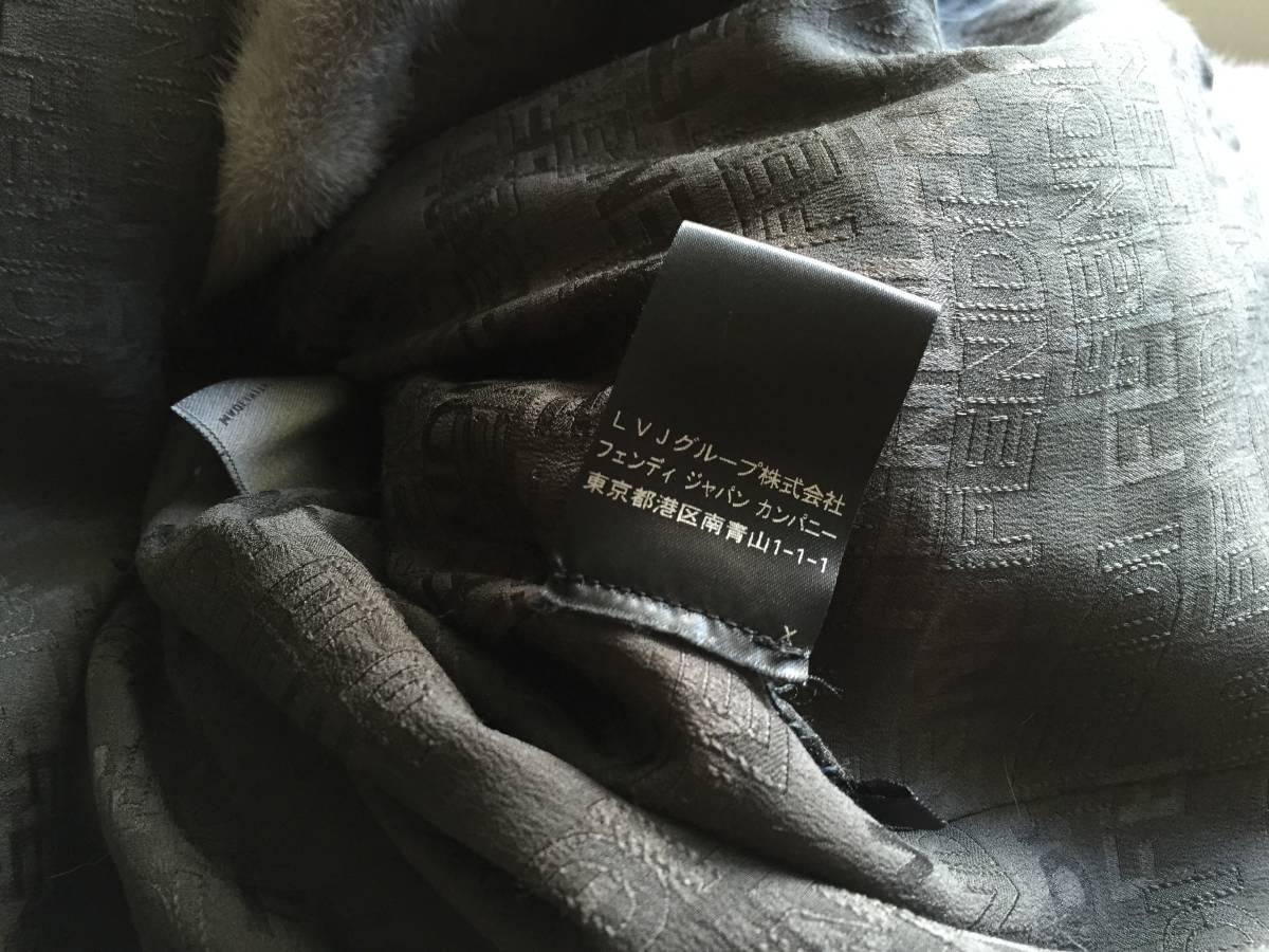 即決 FENDI フェンディ 希少クロコダイルレザーベルト付 サファイアミンクファー毛皮コート☆42サイズ_画像4