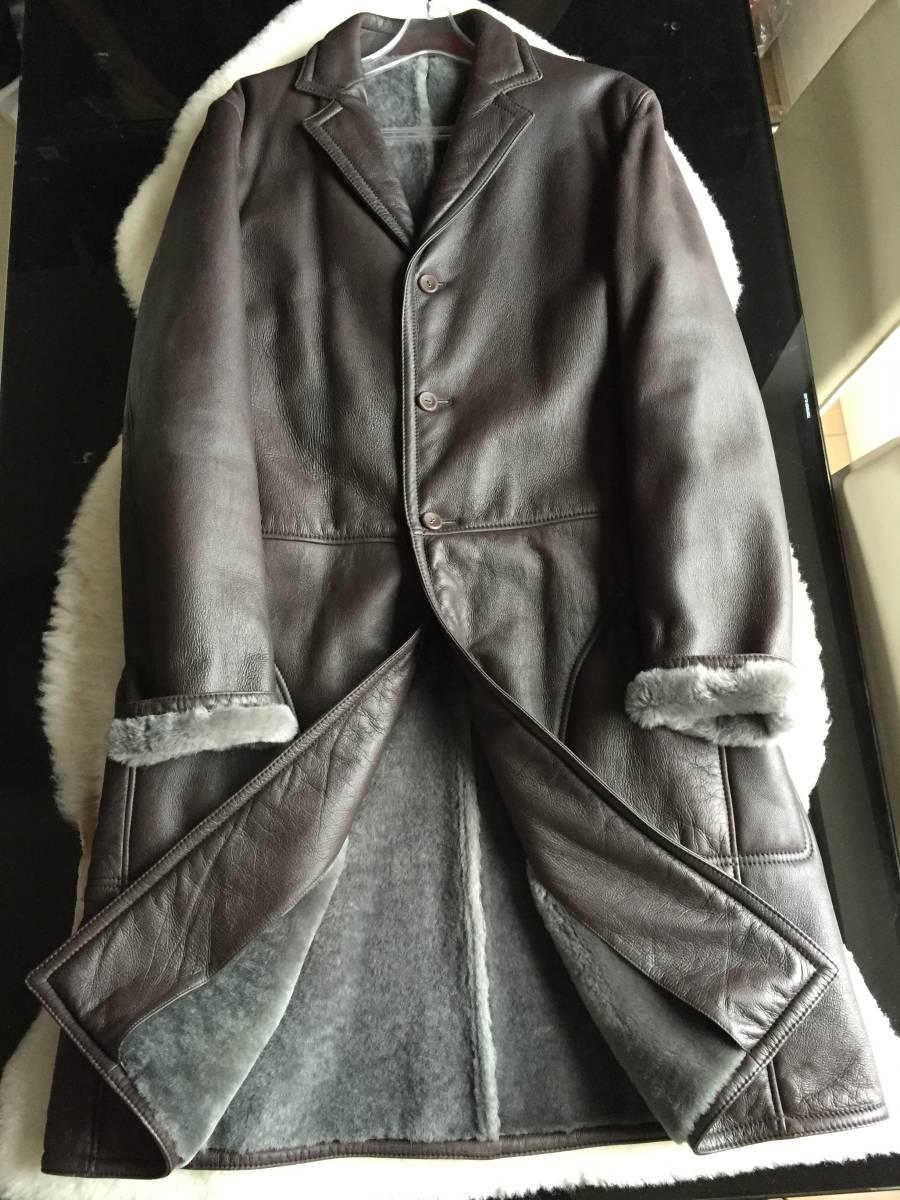 即決 新品同様 BOTTEGA VENETA  ボッテガヴェネタ 最高峰 表革ムートンファー毛皮ロングコート☆50サイズ ダークブラウン_画像1