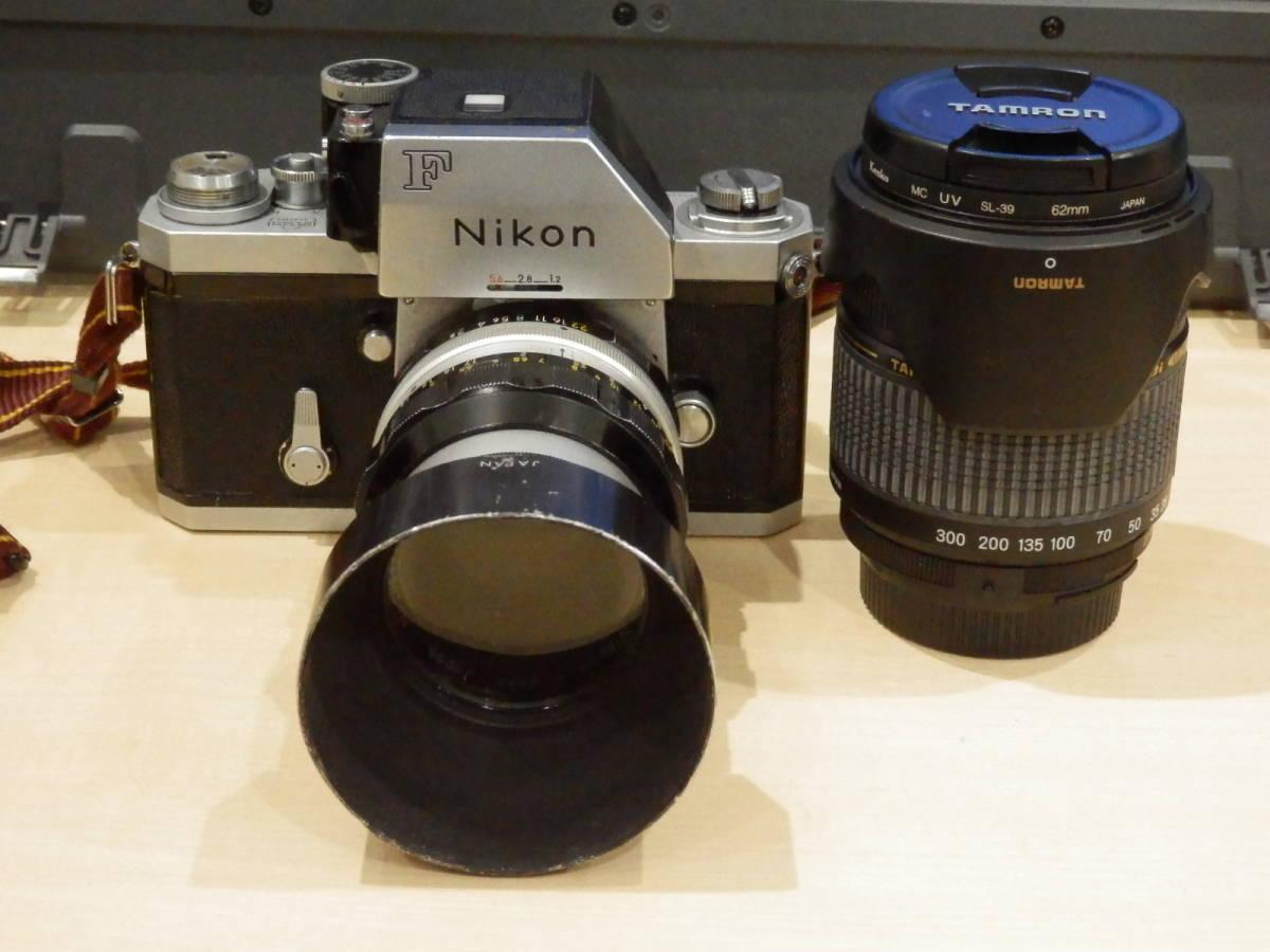9857★Nikon ニコン フィルム一眼レフカメラ 初代F フォトミック NIKKOR-S AUTO 1:2.5 105mm+TAMRONレンズ付