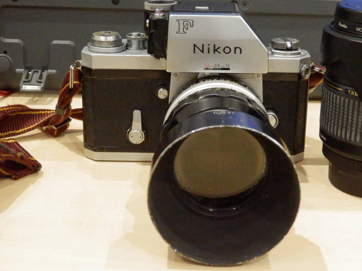 9857★Nikon ニコン フィルム一眼レフカメラ 初代F フォトミック NIKKOR-S AUTO 1:2.5 105mm+TAMRONレンズ付_画像6