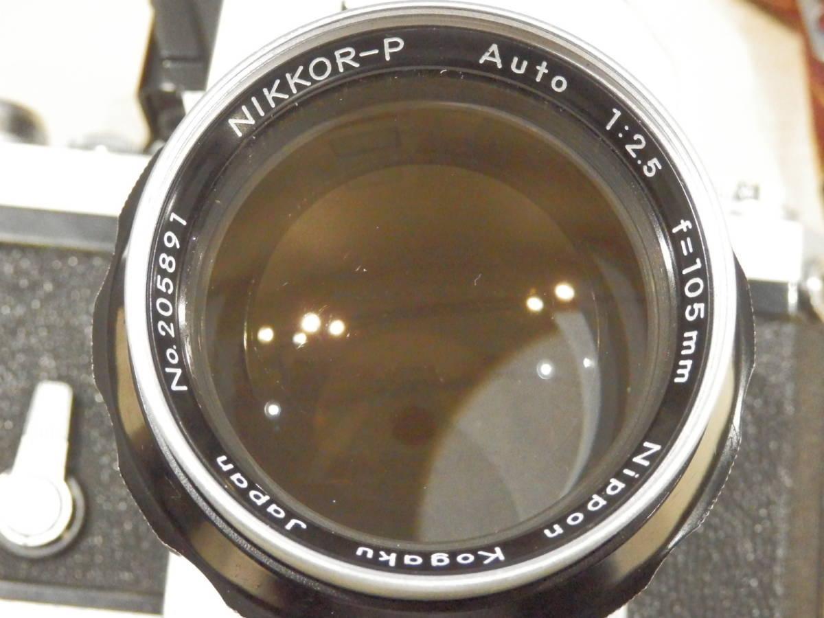 9857★Nikon ニコン フィルム一眼レフカメラ 初代F フォトミック NIKKOR-S AUTO 1:2.5 105mm+TAMRONレンズ付_画像9
