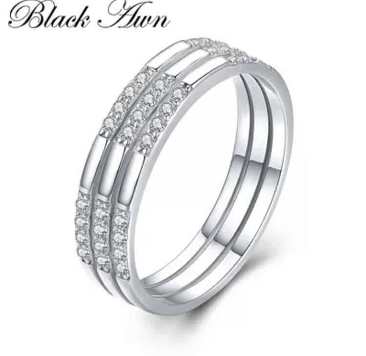 ◆ new ◆ cool and stylish ♪ zircon S925 sterling silver wedding engagement ring pairing gifts bridal clear No. 14