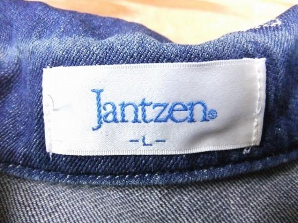 Jantzen ジャンセン レディース 綿100% 王冠&星刺繍 総柄 金ボタン デニム 比翼ジップジャケット ブルゾン レトロ L ネイビー_画像2