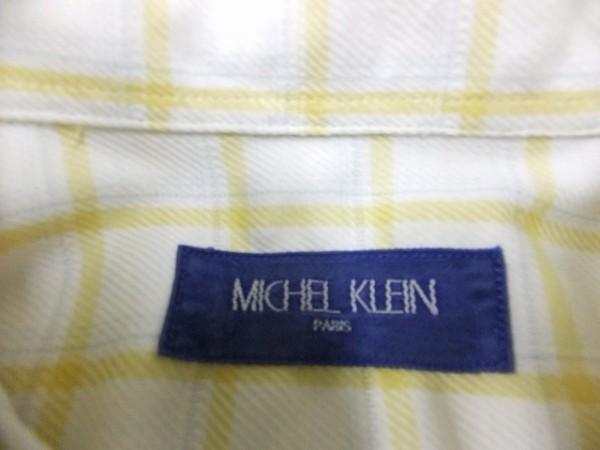 【送料240円】MICHEL KLEIN ミッシェルクラン メンズ 胸ポケット 大きめ格子チェック柄 綿100%シャツ 白×黄_画像2