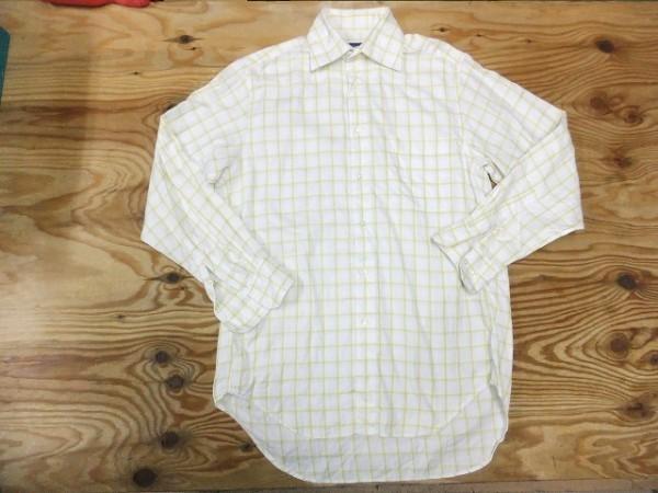 【送料240円】MICHEL KLEIN ミッシェルクラン メンズ 胸ポケット 大きめ格子チェック柄 綿100%シャツ 白×黄_画像1