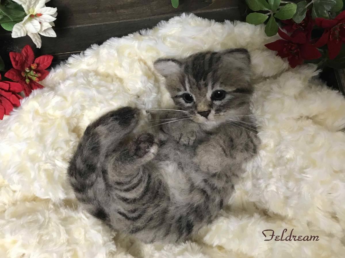 Feldream◆羊毛フェルト猫 ごろにゃん♪ キジトラ子猫 《実物大》 ハンドメイド_画像6