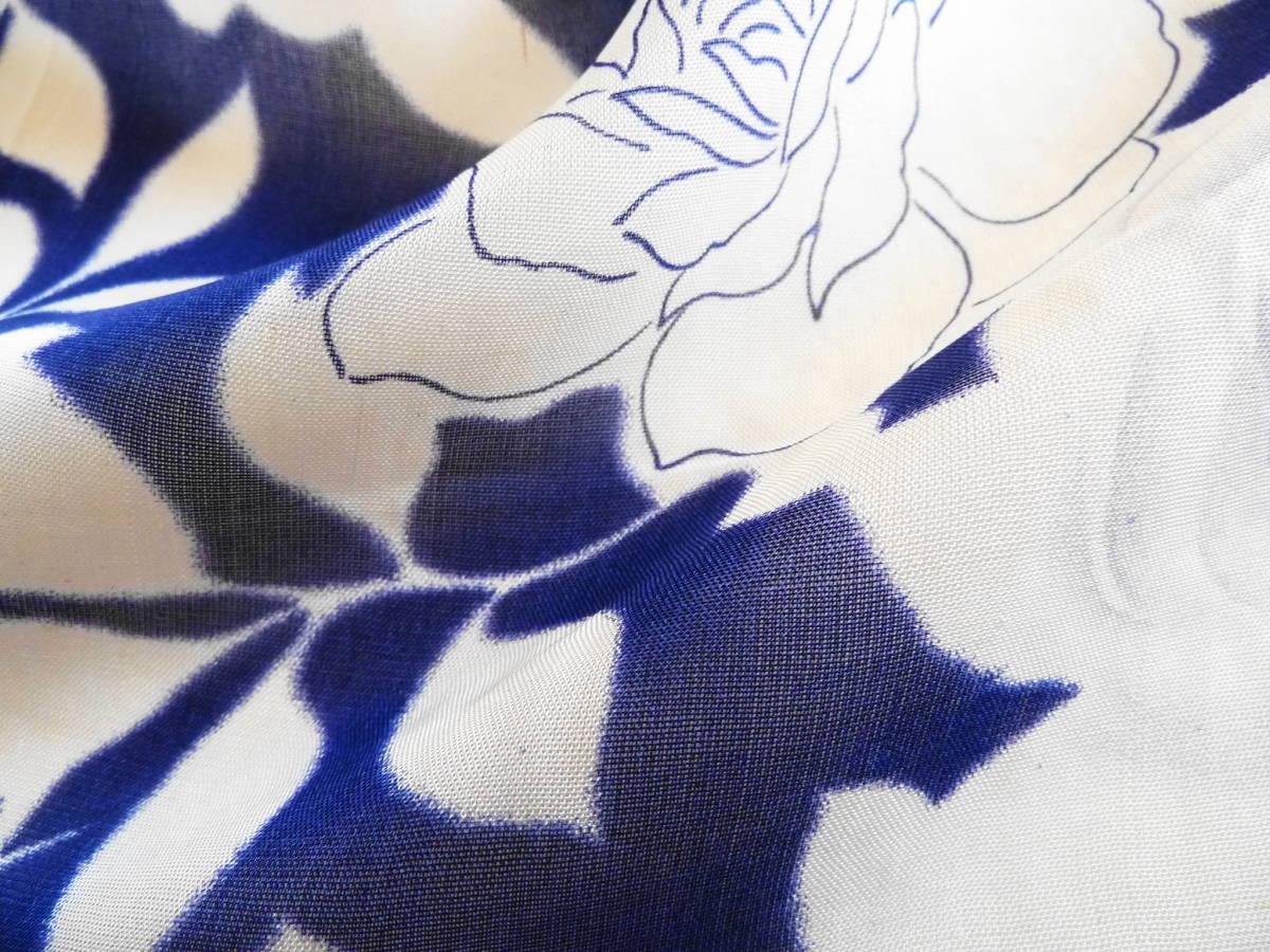 ■彩■古布着物はぎれ/ハギレ 36×143 アンティーク 夏着物 ばら尽くし 薔薇 麻? 難あり 和布 リメイク素材 布細工_画像3