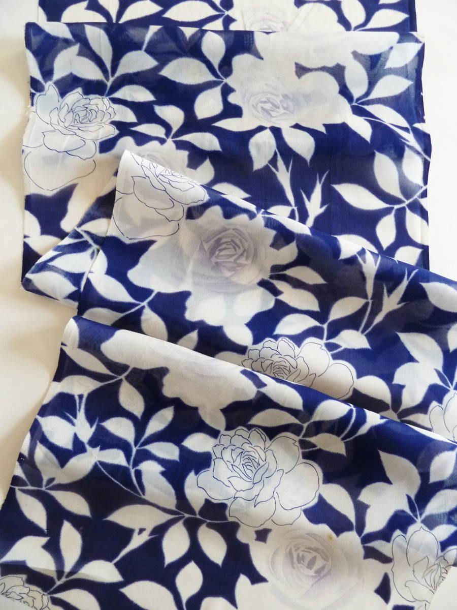 ■彩■古布着物はぎれ/ハギレ 36×143 アンティーク 夏着物 ばら尽くし 薔薇 麻? 難あり 和布 リメイク素材 布細工