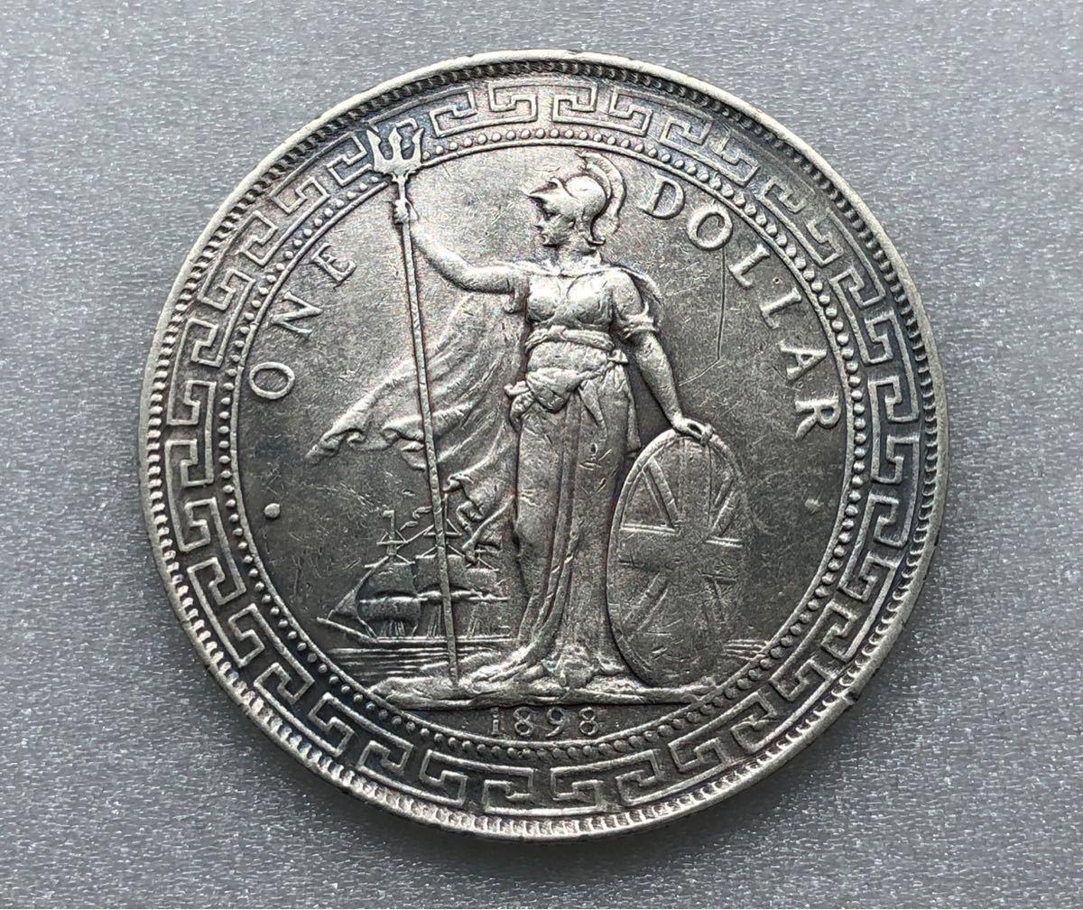 中国銀貨 古銭 外国銀貨 貿易銀 壹圓 香港ドル 重量約26.8g 直径約38.90㎜拍卖
