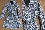 iamwako - 30) otto オットー 白地に黒色 お花模様 裾プリーツ コート 未着用 美品 Мサイズ
