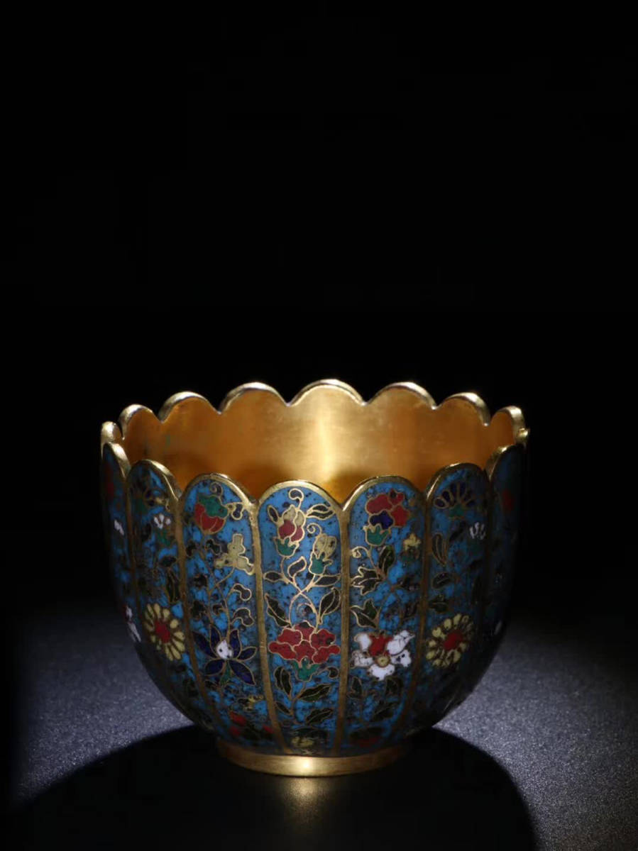 【伝来A】中国古美術 蒐集蔵出し 清時代 乾隆廷御用銅塗金景泰藍蓮花杯  コレクター