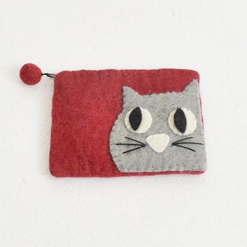 ほっこりブサカワ♪フエルト猫さんポーチRD赤系 ねこネコ雑貨 ハンドメイド ネパール アジアンエスニック雑貨