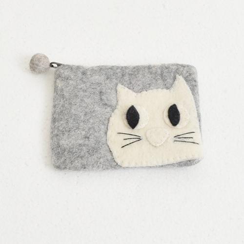 ほっこりブサカワ♪フエルト猫さんポーチGYグレー灰色 ねこネコ雑貨 ハンドメイド ネパール アジアンエスニック雑貨